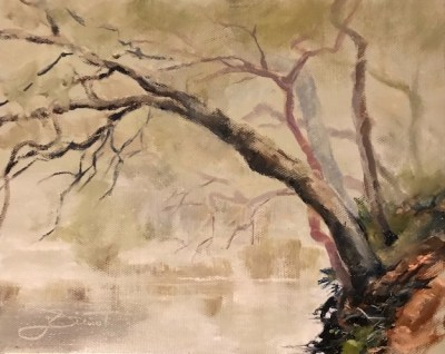 Oil painting of the trees growing out from the high bank over Chula Vista Bayou in Ft. Walton Beach, FL