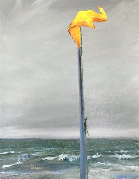 Oil painting o yellow beach flag on pole with stormy gray sky and waves in background, on St. George Island, FL