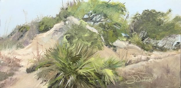 Oil painting of the scooped dune where the wind is carving it to drift over the adjacent boardwalk on St. George Island, FL