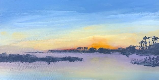 Oil painting of the sunrise at the south end of the bridge to St. George Island, painted en plein air