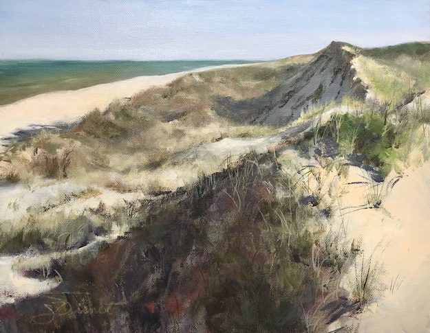 Oil painting of the early morning shadow of the primary dune on Cape San Blas, Port St. Joe, FL
