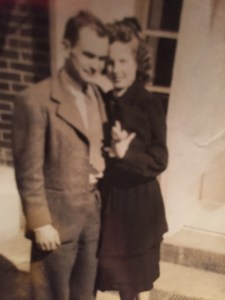 Polly and Johnny at their engagement in 1947. The Walkers were married on October 21, 1948 and began a journey of Love and Legacy together.