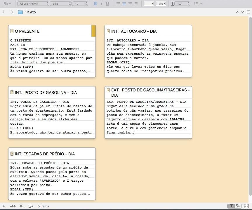 O quadro virtual do Scrivener
