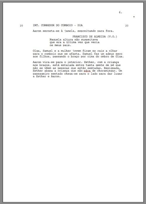 shooting script - página encurtada