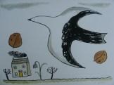 Large bird and tiny house, © Jo Aylward 2011