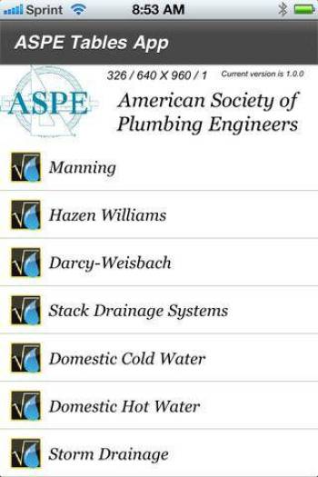 Plumbing Systems Design Tables App