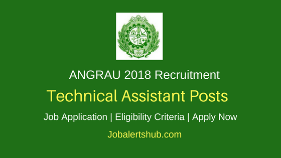 ANGRAU 2018 Recruitment Technical Assistant – 01 Vacancies | B.Sc/B.Tech | WalkIn: 28/03/2018