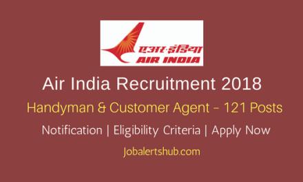 Air India Recruitment 2018   Handyman & Customer Agent – 121 Posts   Graduation   Apply Now @ airindia.in