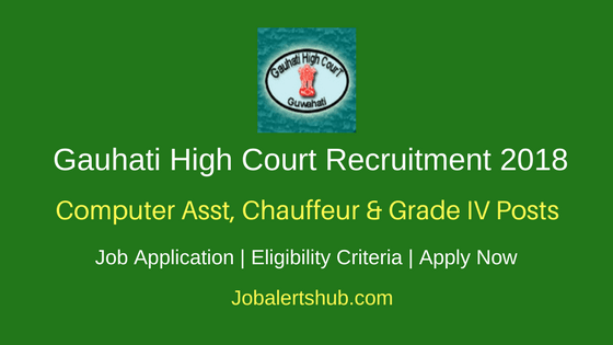 Gauhati High Court 2018 Computer Asst, Chauffeur & Grade IV Posts – 17 Vacancies | 8th Class, Any Degree | Apply Now