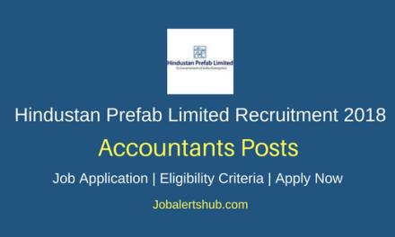 Hindustan Prefab Limited 2018 Accountants Posts – 03 Vacancies   B.Com   Apply Now
