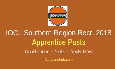 IOCL Southern Region Apprentice Jobs 2018 – 350 Vacancies   Matric, ITI, Any Degree  Apply Now