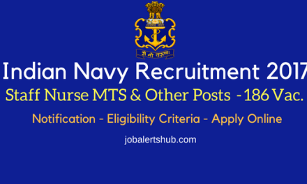 Indian Navy Recruitment 2017   Staff Nurse/MTS/ Telephone Operator/Fireman/Other Posts   10th/12th   Apply Now