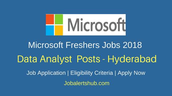 Microsoft 2018 Hyderabad Freshers Data Analyst Jobs | Graduation | Apply Now