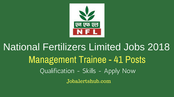 National Fertilizers Limited Recruitment 2018 | Management Trainee – 41 Vacancies | B.Tech | Apply Now
