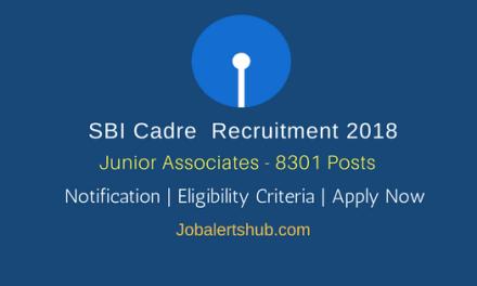 SBI Recruitment 2018 | Junior Associates (Customer Support & Sales) – 8301 Posts | Graduation | Apply Now @ www.sbi.co.in