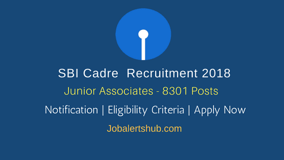 SBI Recruitment 2018 | Junior Associates (Customer Support & Sales) – 8301 Posts | Graduation | Apply Now @ www.sbi.co.in