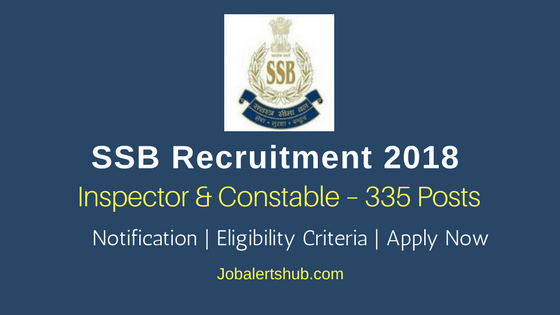 SSB Recruitment 2018   General & Inspector – 335 Posts   12th/Degree/PG   Apply Now @ www.ssb.nic.in