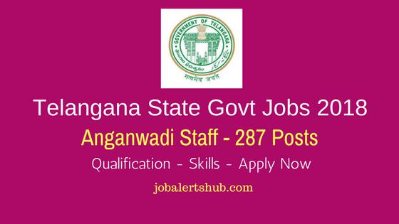 Telangana State Govt Jobs 2018 | Anganwadi Staff – 287 Vacancies | 10th Class | Apply Now