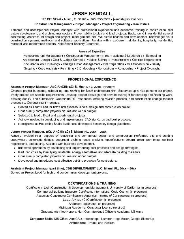 construction project manager job description sample - Template