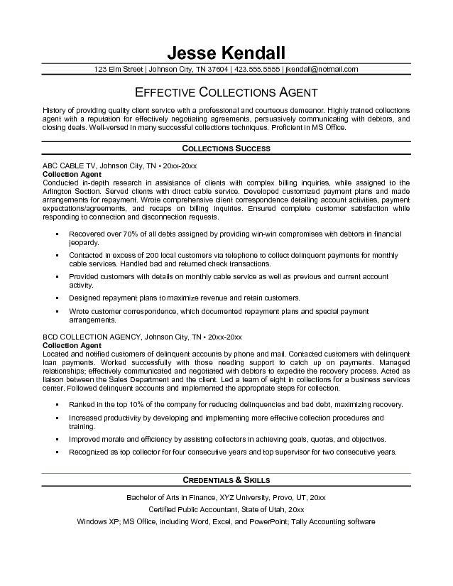 debt collector resume examples sample collections resume summary