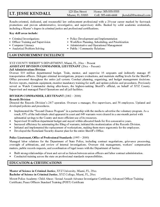 Police Officer Resume Objective Examples Success