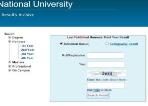 National University Honours 4th Year Result 2018 – www.nu.edu.bd