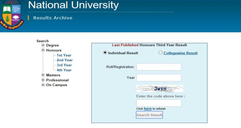 National University Honours 1st Year Result 2019 – www.nu.edu.bd