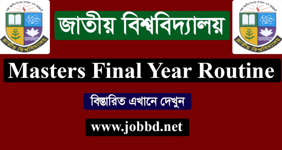 NU Masters Final Year Exam Routine 2019 – www.nu.edu.bd