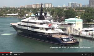 Steven Spielbergs 281′ , $200m+ superyacht SEVEN SEAS pulling off the dock in Ft. Lauderdale