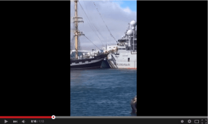 "Russian tall ship ""Kruzenshtern"" collided with the Icelandic Coastguard vessels ""Thor"" and ""Tyr"" this afternoon, whilst manoeuvring to depart Reykjavik harbou"