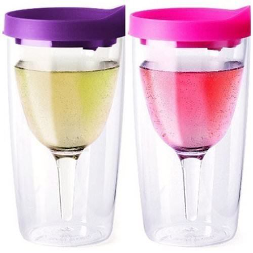 Purple and Pink Lid Vino2Go Travel Tumbler Adult Wine Sippy Cup, Pair of 2, 10 oz