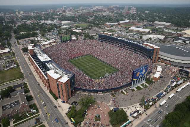 A general view of Michigan Stadium during the Guinness International Champions Cup match between Real Madrid and Manchester United at Michigan Stadium on August 2, 2014 in Ann Arbor, Michigan.