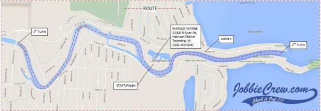 Parade of Lights route on the Clinton River