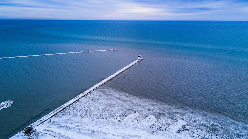 Photographer Chris Knight shot these amazing images of pancake ice at the Kewaunee Harbor Pierhead Lighthouse along Lake Michigan earlier this week. (Chris Knight)