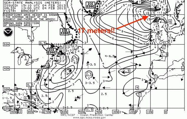 NOAA chart dated February 4, 2013 showing a significant wave height of 17 meters.