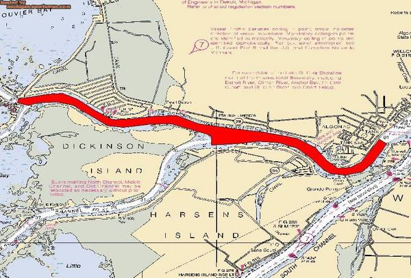 The red area on this map shows where the annual DNR lake sturgeon setline survey is slated to occur.