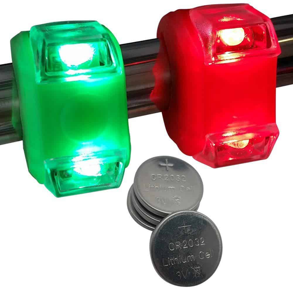 Green & Red Portable Marine LED Boating Lights - Boat Bow or Stern Safety Lights - Waterproof