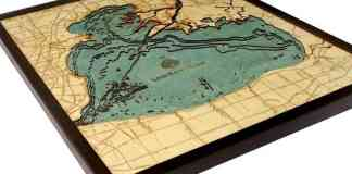 "Lake St. Clair, Michigan 3-D Nautical Wood Chart, 24.5"" x 31"" Get your own at http://amzn.to/2gkj7kL"