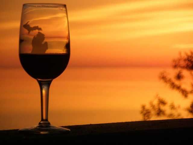 Wine at sunset