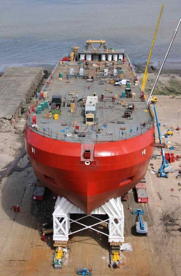 oyal Research Ship (RRS) still needs its superstructure(Credit: BAS)