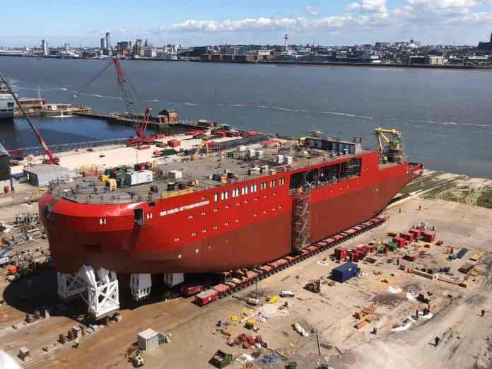 Royal Research Ship (RRS) being moved to the launch ramp(Credit: BAS)