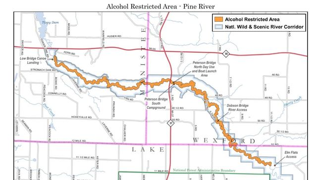 Pine River (Map courtesy of the National Forest Service).