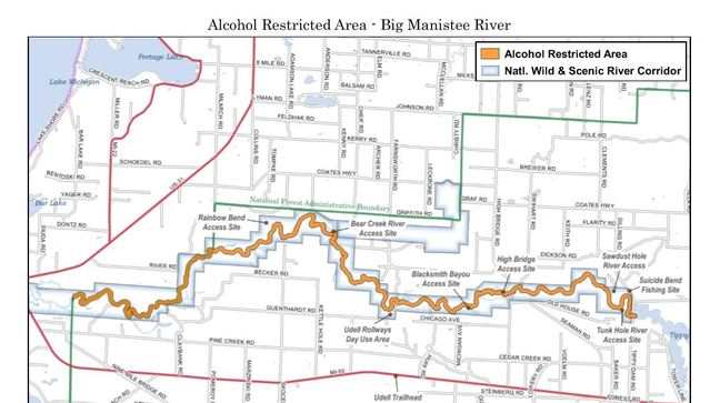 Big Manistee River(Map courtesy of the National Forest Service).