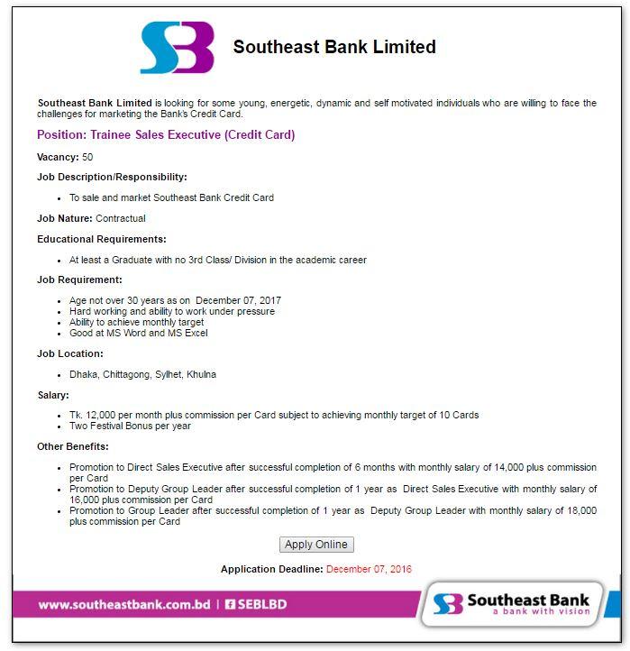 Southeast Bank Job circular November 2016