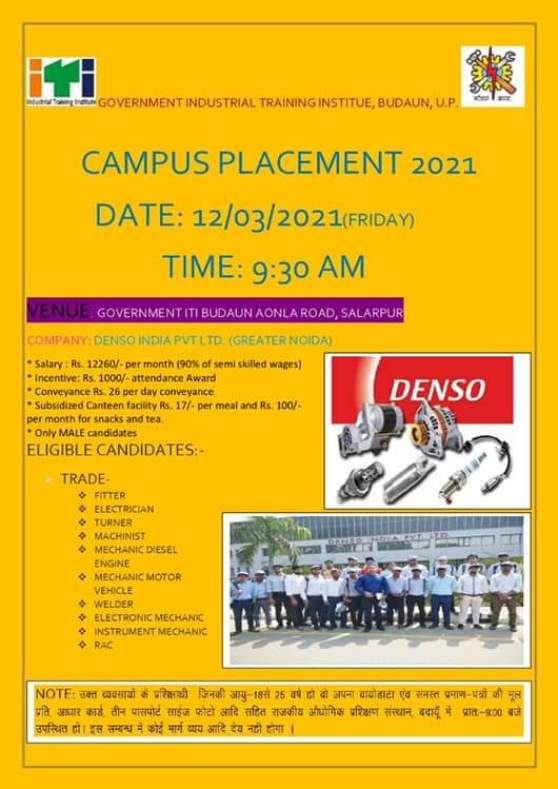 Denso India Pvt Ltd Greater Noida ITI Campus Placement 2021