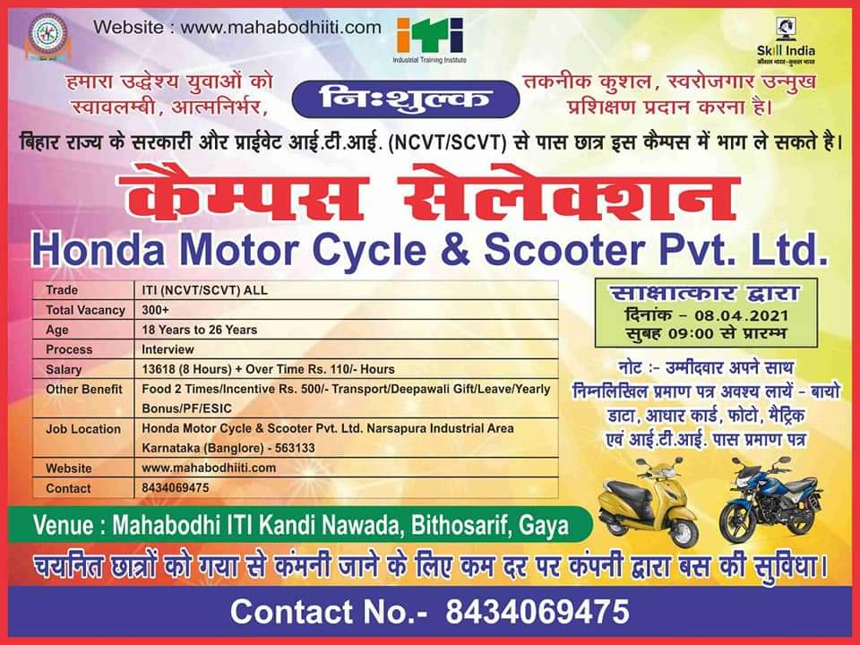 Hond Motor cycle And scooter Pvt Ltd ITI All trade Job Campus 2021