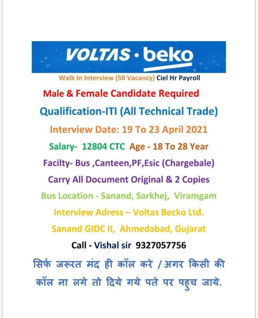 Jobs Vacancy For 12th And ITI All Trades Boys And Girls Candidates