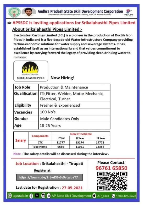 ITI Jobs Vacancy In Srikalahasthi Pipes Limited
