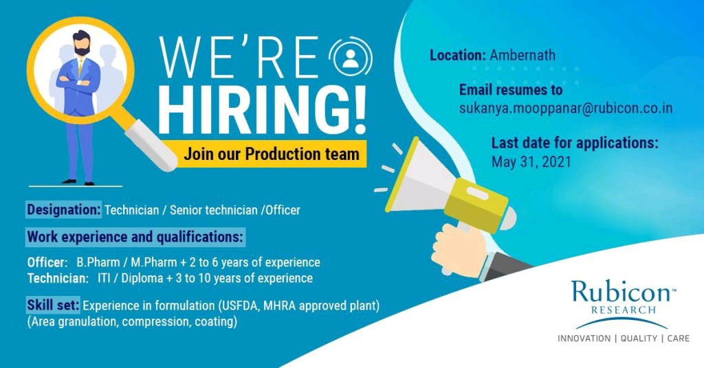 Rubicon Research Pvt Ltd Pharmaceutical Company Job Openings
