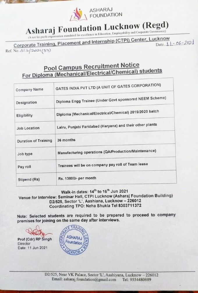 Pool Campus Recruitment For Diploma Mechanical/Electrical/Chemical